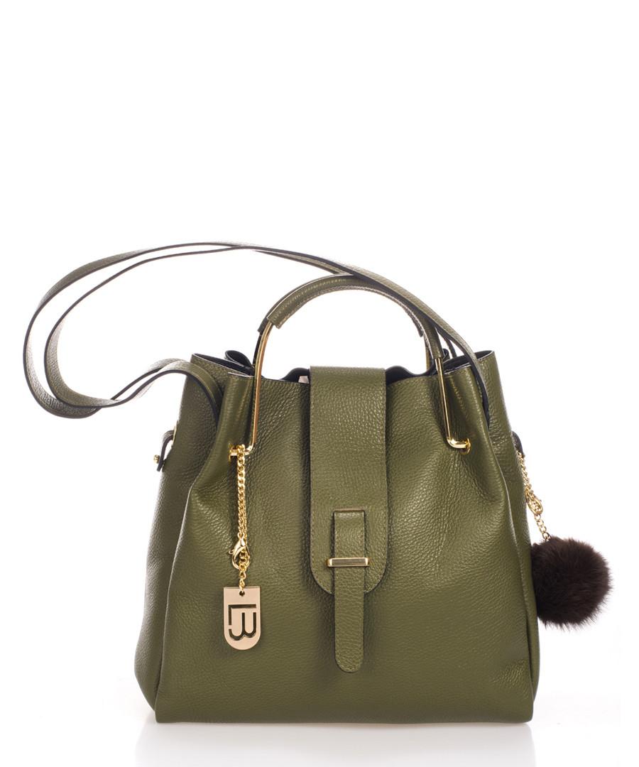 Avellino khaki leather pompom bag Sale - lucca baldi