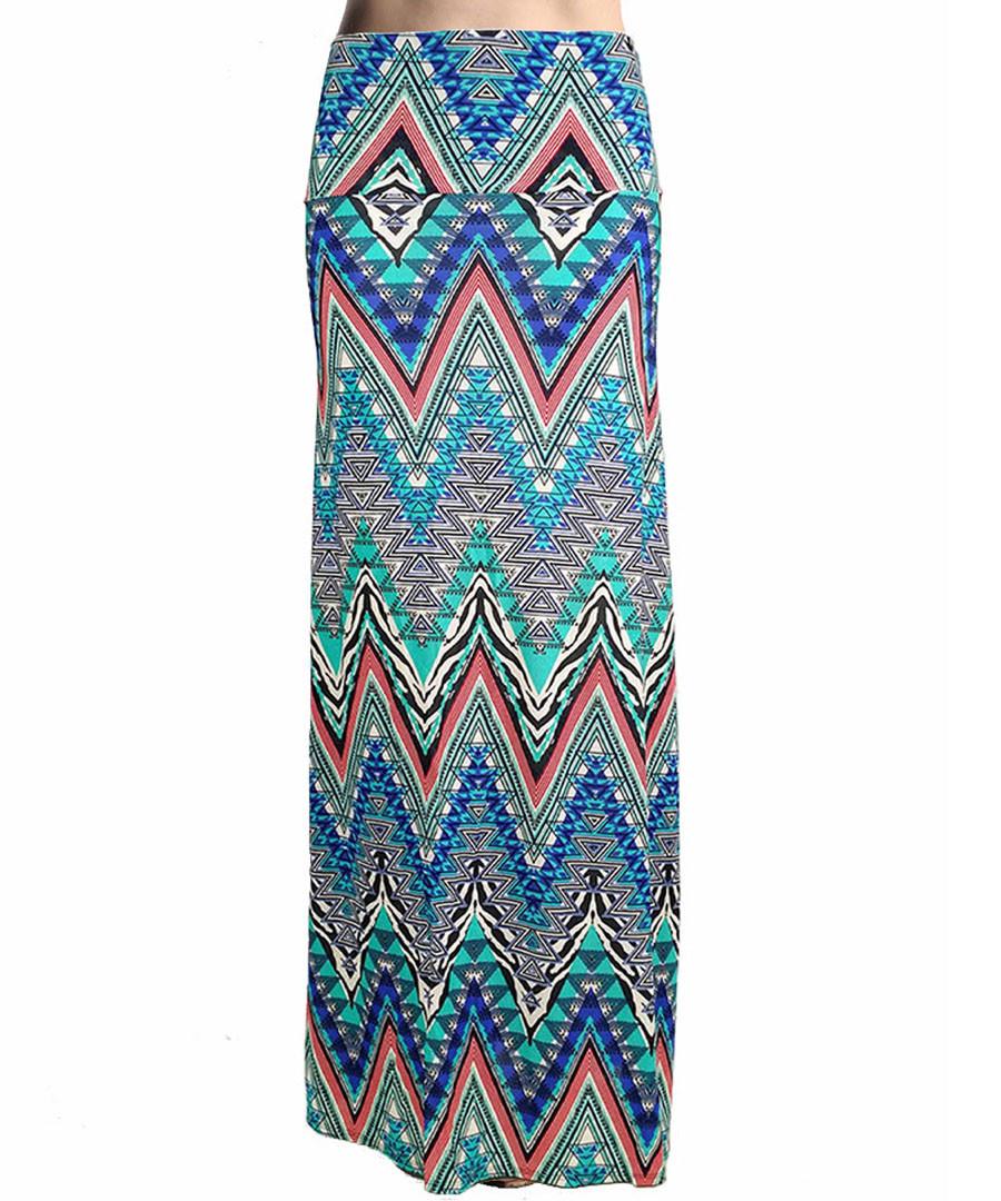 Multi-colour chevron print maxi skirt Sale - urban trend