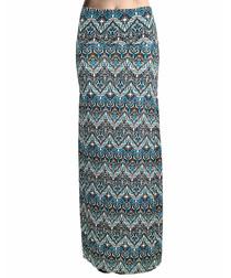 Multi-colour zigzag print maxi skirt