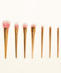 7pc Rose gold-tone brush set