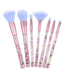 7pc Pink & lilac glitter brush set
