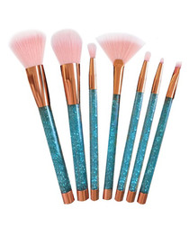 7pc Copper & turquoise glitter brush set