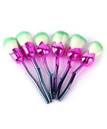 6pc Pink & mint rose brush set