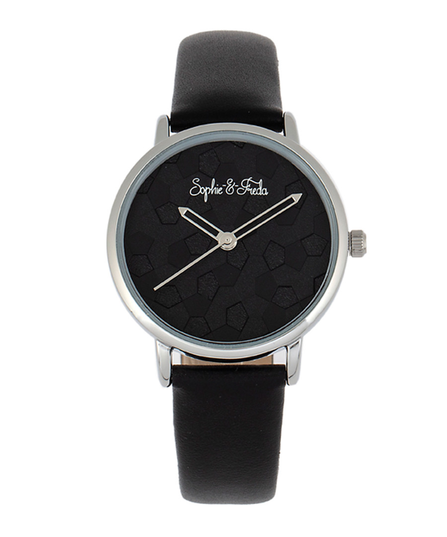 Breckenridge black leather watch Sale - sophie & freda