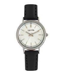 Berlin silver-tone & black leather watch