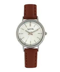 Berlin silver-tone & brown leather watch
