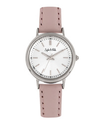 Berlin silver-tone & rose leather watch