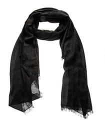 Black wool & silk scarf