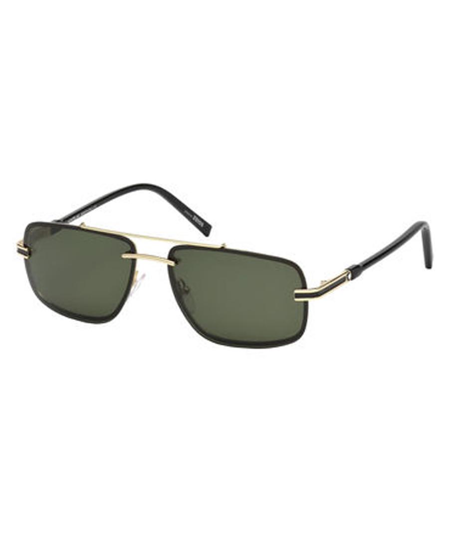 black & gold-tone squared sunglasses Sale - montblanc