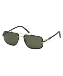 black & gold-tone squared sunglasses