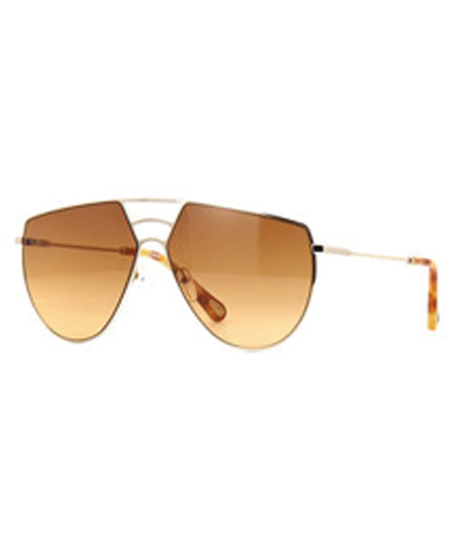 Gold-tone asymmetric aviator sunglasses Sale - chloe