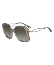 peach & metal squared sunglasses