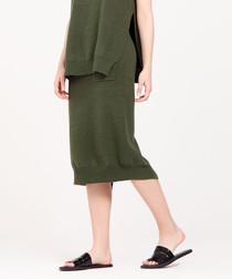 Green wool blend knit midi skirt