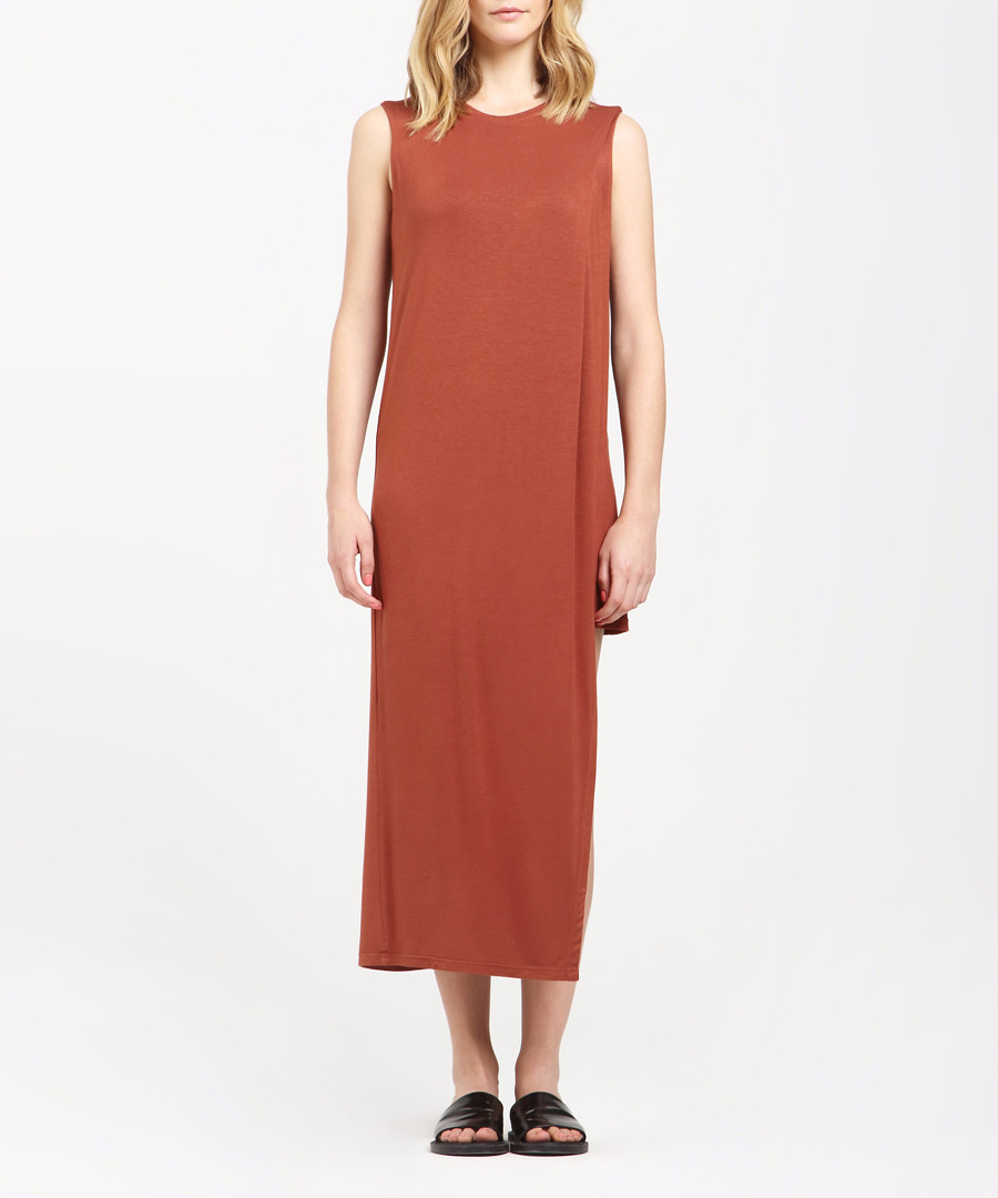 Caramel sleeveless midi dress Sale - paisie