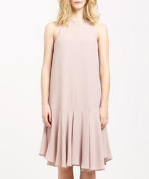 Beige pleated drop hem dress