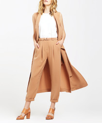 Tan sleeveless longline jacket
