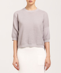 Light grey 3/4 sleeve jumper