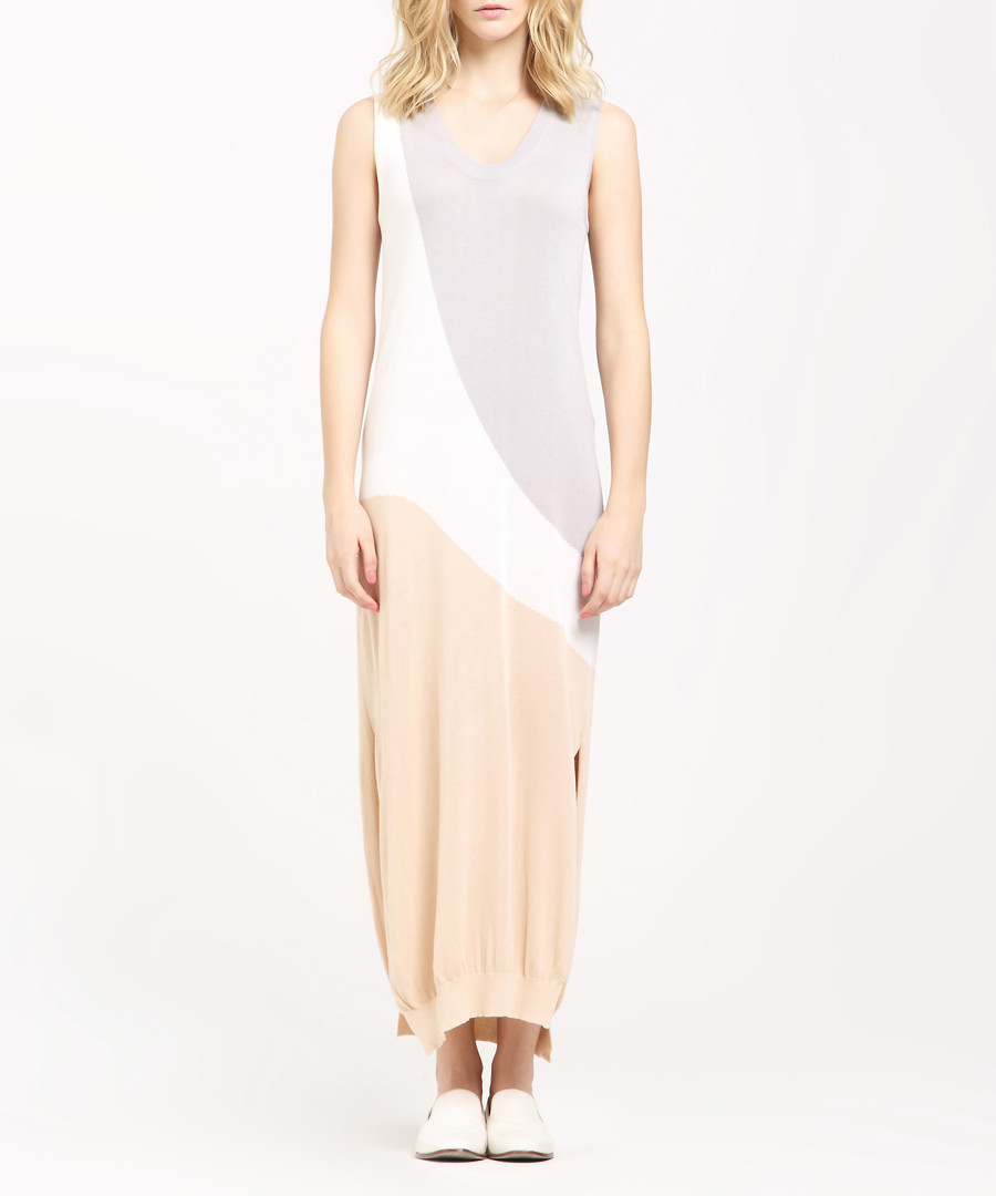 Colour block side-split maxi dress Sale - paisie