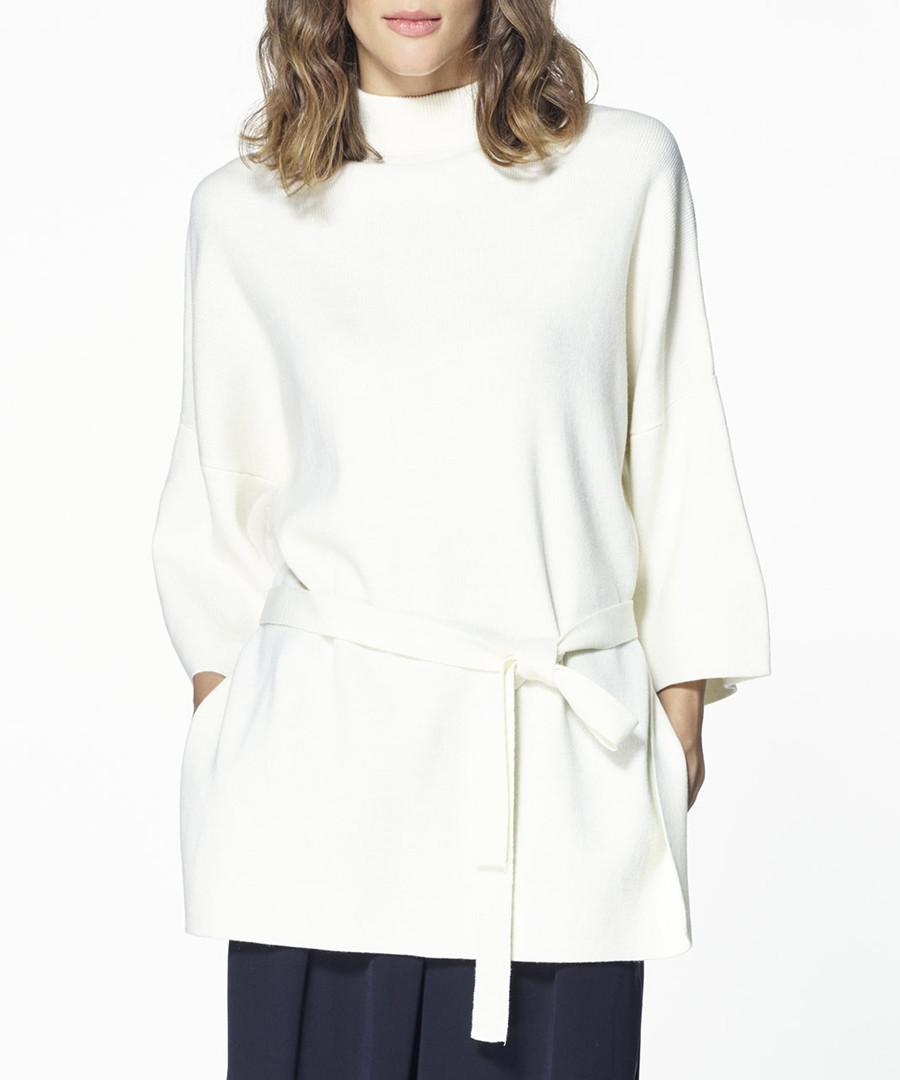 White wool blend tie-waist jumper Sale - paisie