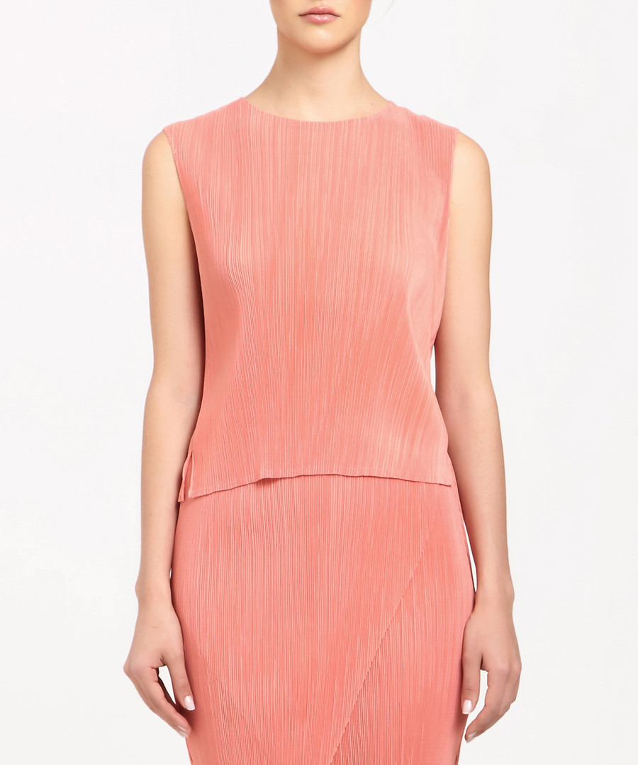 Coral textured sleeveless top Sale - paisie