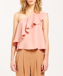 Dusty pink ruffle shoulder blouse