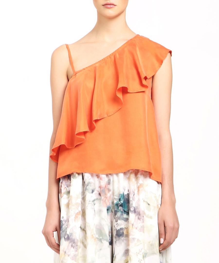 Orange ruffle shoulder blouse Sale - paisie