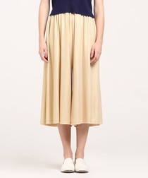 Champagne pleated wide-leg culottes
