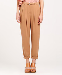 Sand belted trousers