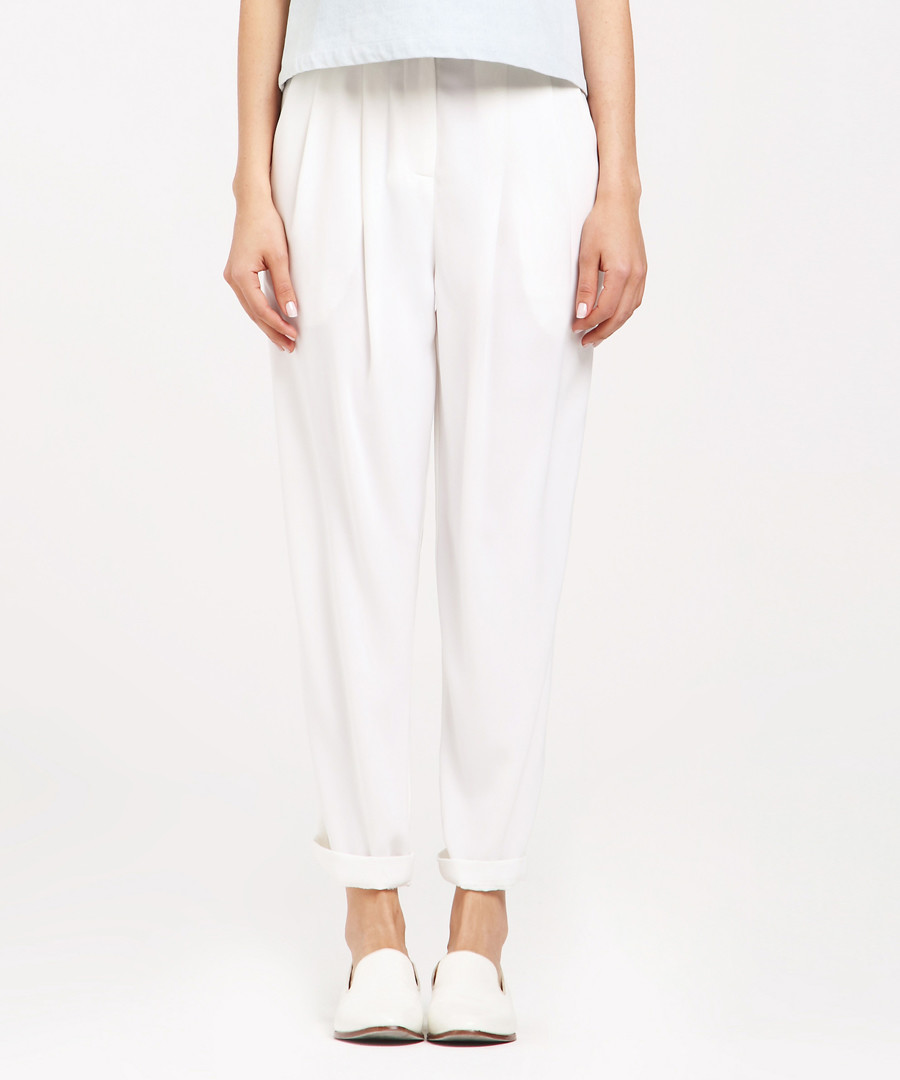 White tapered trousers Sale - paisie