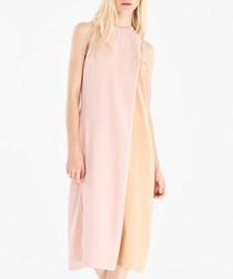Pink & nude contrast dress