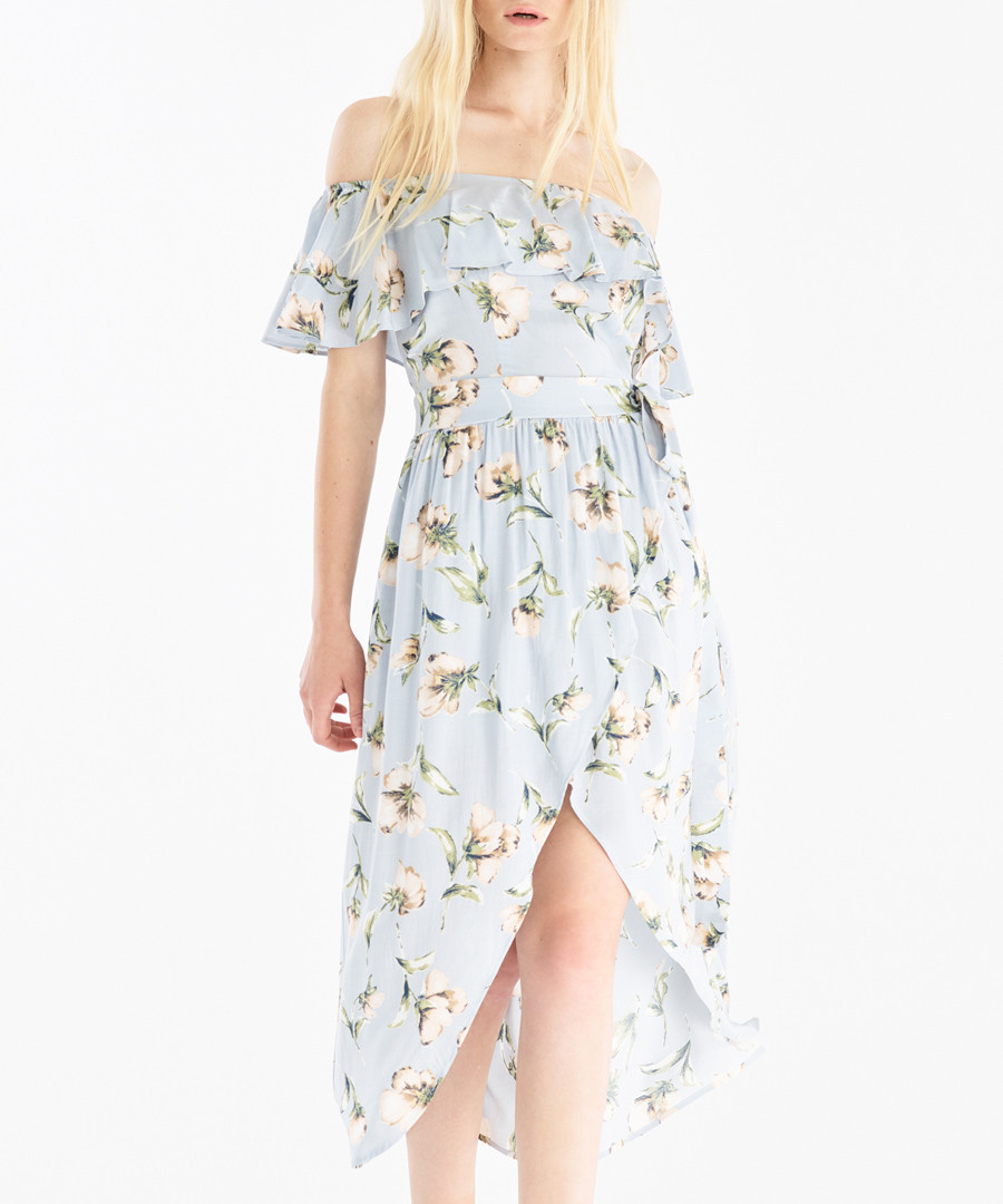 Baby blue floral off-the-shoulder dress Sale - paisie