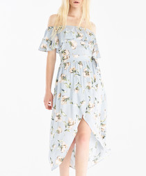 Baby blue floral off-the-shoulder dress