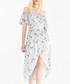 Baby blue floral off-the-shoulder dress Sale - paisie Sale