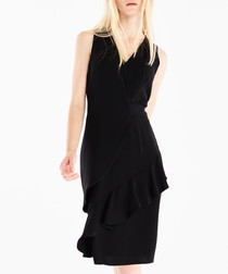 Black sleeveless ruffle hem dress