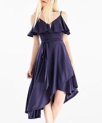 Navy cold-shoulder midi dress