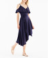 Navy cold-shoulder midi dress Sale - paisie Sale