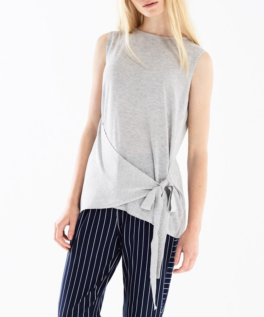 Grey side-tie sleeveless top Sale - paisie