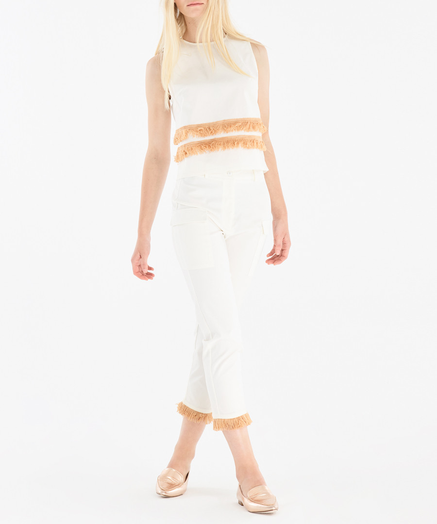 White & peach fringe trim blouse Sale - paisie