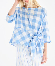 White & blue check bow-tie blouse