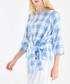 White & blue check bow-tie blouse Sale - paisie Sale