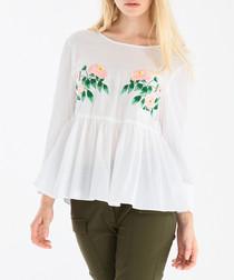 White floral print peplum blouse