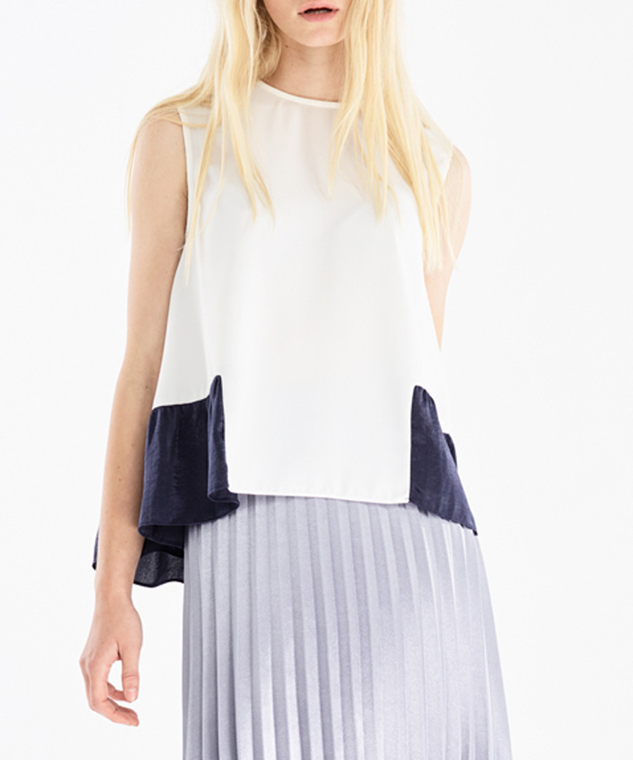 White sleeveless contrast blouse  Sale - paisie