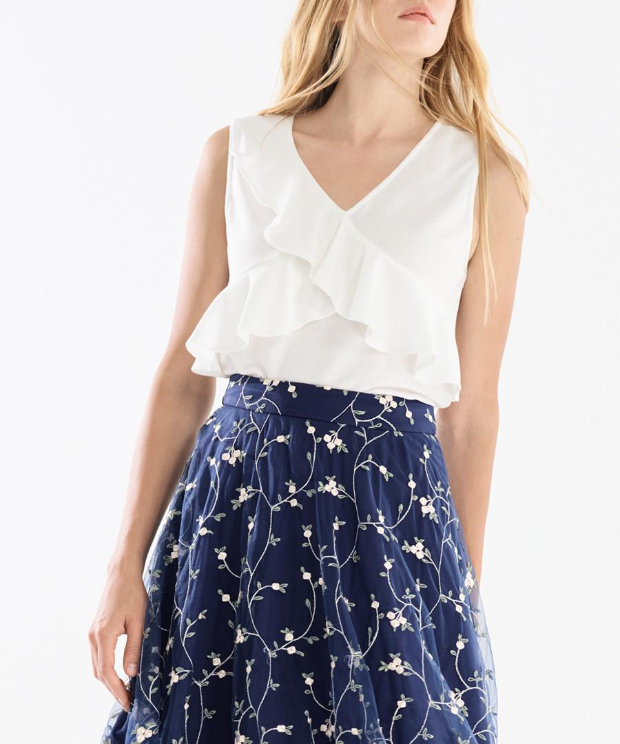 White frill wrap front blouse Sale - paisie