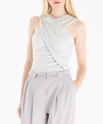 Silver wrap front blouse