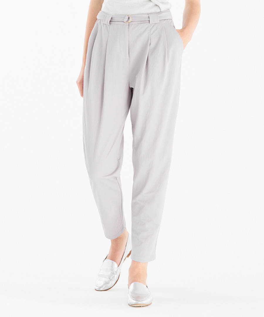 Light grey tapered trousers Sale - paisie