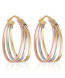 Orion gold-plated tri-hoop earrings
