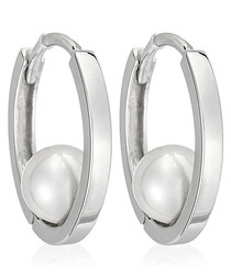 Cerceau white gold-plated hoop earring