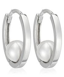 Cerceau white gold-plated hoop earring