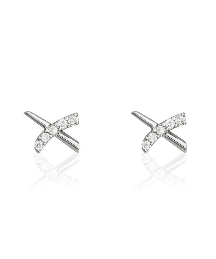Croisillons white gold-plated earring Sale - or eclat