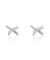 Croisillons white gold-plated earring